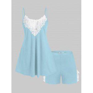 Plus Size Lace Panel Tied Two Piece Pajama Shorts Set