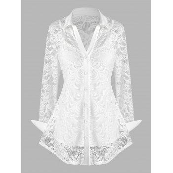 Plus Size Lace See Thru Blouse with Cami Top Set