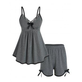 Plus Size Lace Trim Piping Pajama Cami Top and Shorts Set