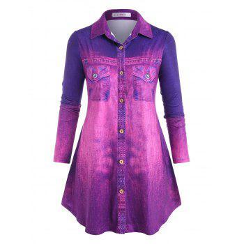 Plus Size Ombre 3D Jean Print Long Sleeve Shirt