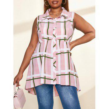 Plus Size Plaid Button Up Skirted Sleeveless Shirt