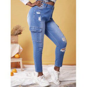 Plus Size Pockets Ripped Jeans