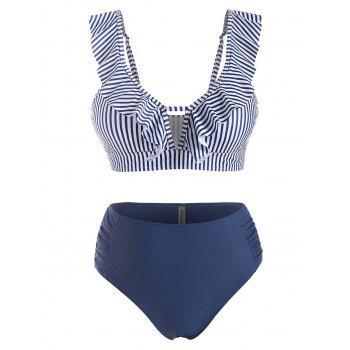 Plus Size Ruffle Striped Ruched Detail High Waist Bikini Swimwear