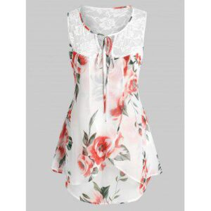 Plus Size Sleeveless Lace Insert Floral Print Blouse