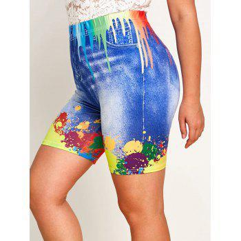 Plus Size Splatter Paint 3D Jean Print Short Leggings