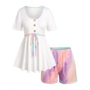 Plus Size Tie Dye Short Sleeve Pajama Shorts Set