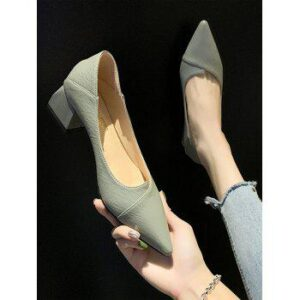 Pointed Toe Chunky Heel Slip On Shoes