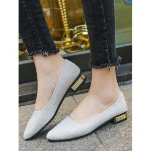 Pointed Toe Plaid Print Low Heel Shoes