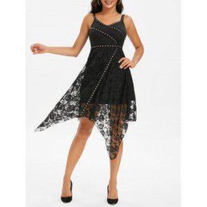 Rivets Lace Overlay Asymmetrical Dress