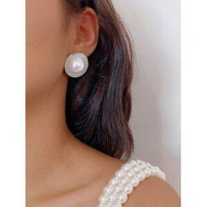Round Faux Pearl Diamante Stud Earrings