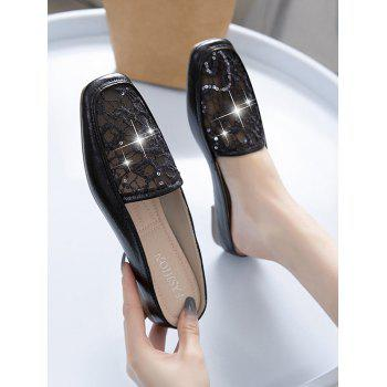 Sequined Mesh Flat Mules Sandals