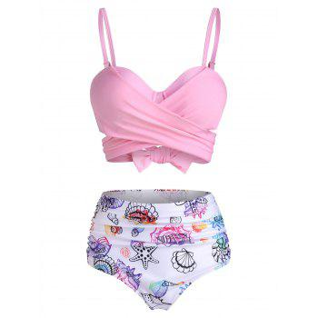Shell Starfish Print Padded Wrap Bikini Set