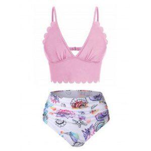 Shell Starfish Print Ruched Padded Bikini Set