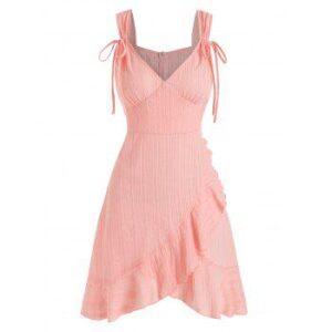 Sleeveless Cinched Overlap Flounced Dress