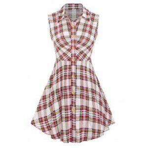 Sleeveless Plaid Print Skirted Shirt