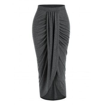Slit Front Draped Bodycon Skirt