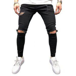 Solid Color Hole Design Jeans