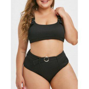 Textured Ribbed Ring Plus Size Bikini Swimsuit