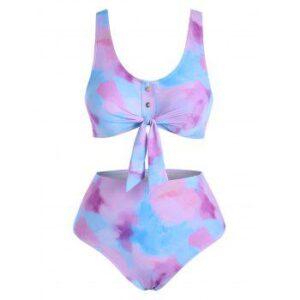 Tie Dye Buttons Bikini Swimwear