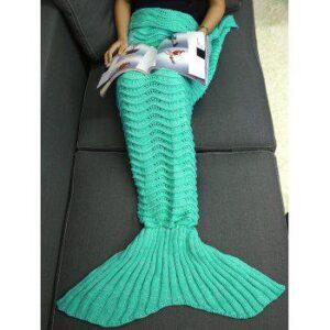 Wave Stripe Knitting Sleeping Bag Bedding Mermaid Blanket