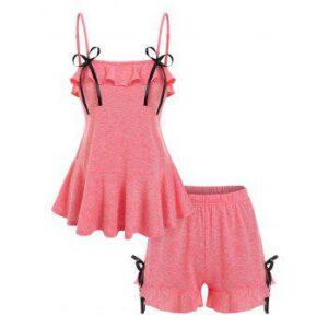 Bowknot Detail Flounced Cami Top and Mini Shorts Sleepwear Set