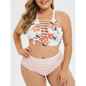 Floral Stripes Criss Cross Strappy Plus Size Bikini Set