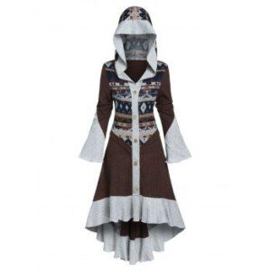 Hooded Tribal Pattern Skirted High Low Cardigan