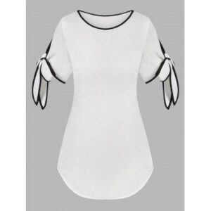 Knotted Sleeve Contrast Piping Blouse