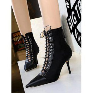 Lace Up Cut Out Ankle Boots