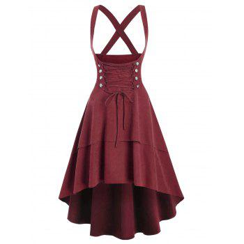 Mock Double Button Layered High Low Suspender Skirt