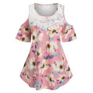 Plus Size Cold Shoulder Lace Insert Floral Print Blouse