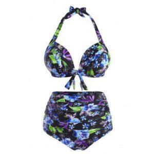 Plus Size Floral Print Halter Tied Tummy Control Bikini Swimwear