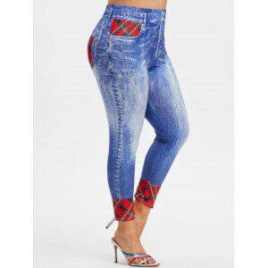 Plus Size Plaid 3D Jean Print Jeggings