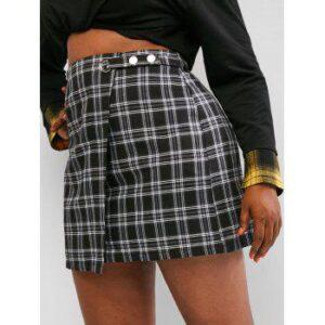 Plus Size Plaid Pattern Overlap Front Skirt